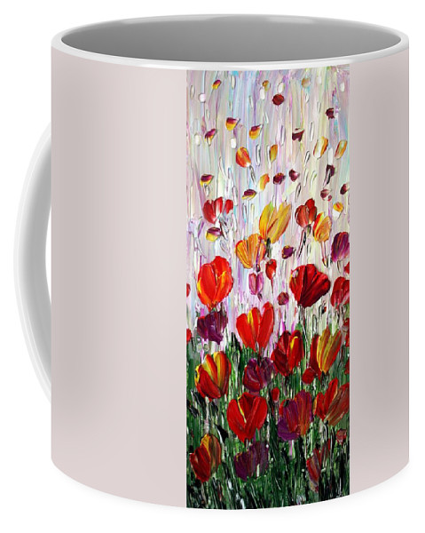 Flowers Coffee Mug featuring the painting Tulips Flowers Garden Seria by Luiza Vizoli