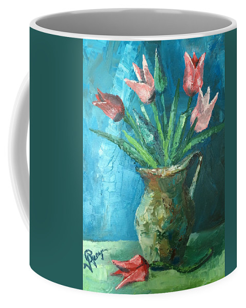 Tulips Coffee Mug featuring the painting Tulips by Georgescu George