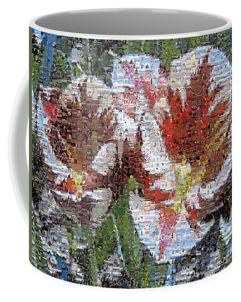 Lighthouse Coffee Mug featuring the photograph Tulips In Springtime Photomosaic by Michelle Calkins