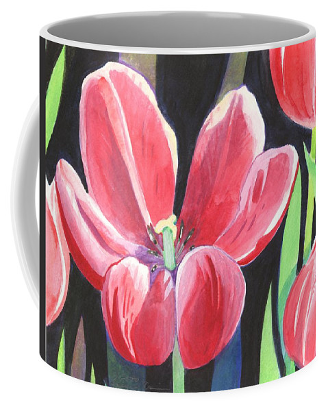 Flower Coffee Mug featuring the painting Tulips On Black by Helena Tiainen