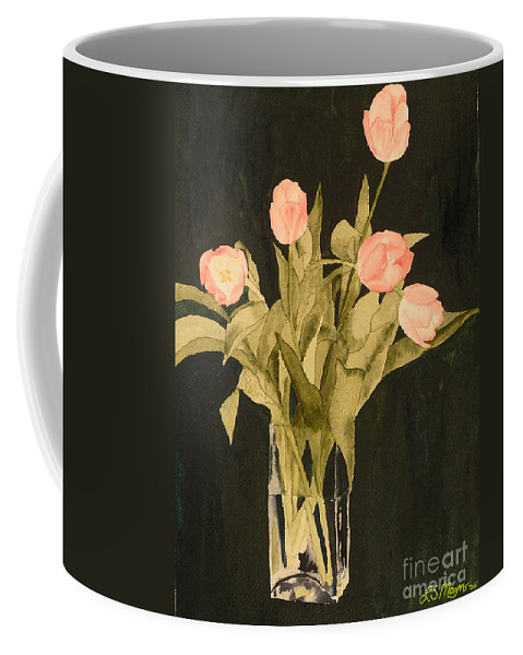 Tulips Coffee Mug featuring the painting Tulips On Velvet by Louise Magno