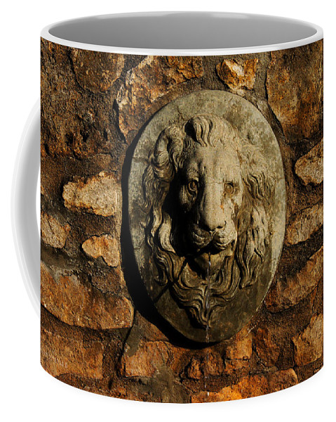 Tulsa Rose Garden Coffee Mug featuring the digital art Tulsa Rose Garden Lion Fountain #1 by Susan Vineyard