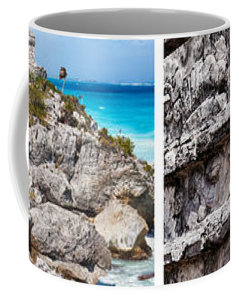 Tulum Coffee Mug featuring the photograph Tulum, Mexico Collage by Tatiana Travelways