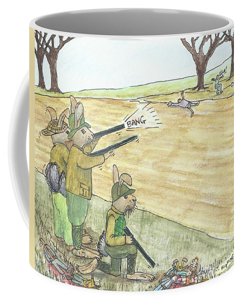Rabbits Coffee Mug featuring the painting Tum Tiddle Umpty Bum by Steve Royce Griffin