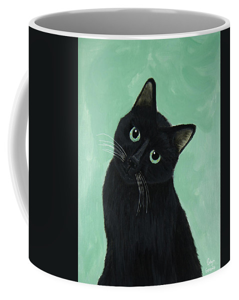 Black Shorthair Cat Green Eyes Play Playful Fun Happy Kitty Love Tuna Robyn Geranis Coffee Mug featuring the painting Tuna? by Robyn Geranis