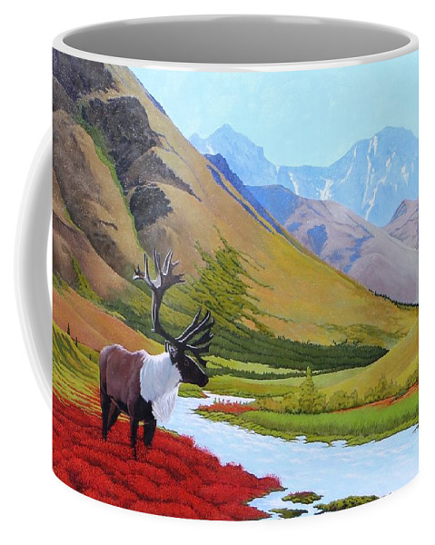 Caribou Coffee Mug featuring the painting Tundra by Jim Bob Swafford