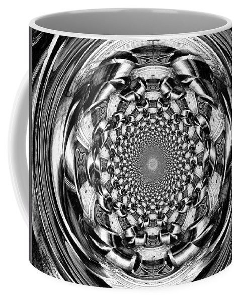 Swirl Coffee Mug featuring the digital art Tunnel Vision-black And White by Charleen Treasures