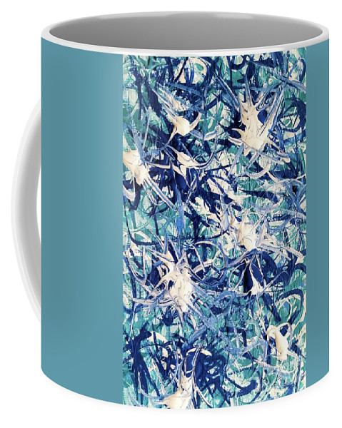 Turquoise Coffee Mug featuring the painting Turbo Turquoise by Jackie Carpenter