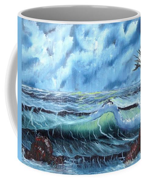 Ocean Coffee Mug featuring the painting Turbulent Sea by Jim Saltis