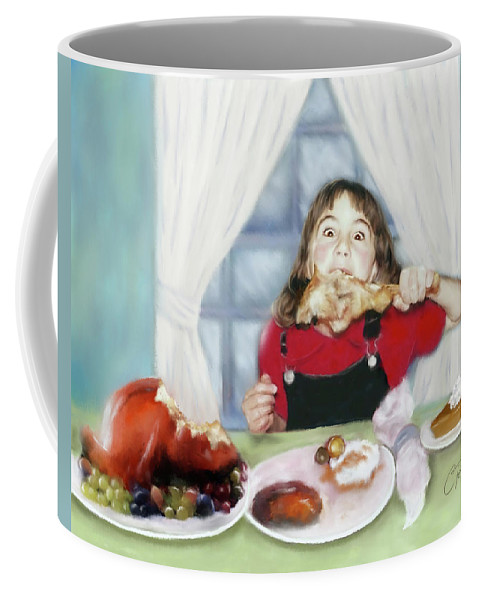 Thanksgiving Coffee Mug featuring the digital art Turkey Girl by Colleen Taylor