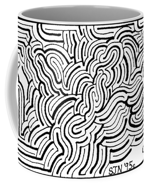 Mazes Coffee Mug featuring the drawing Turmoil by Steven Natanson