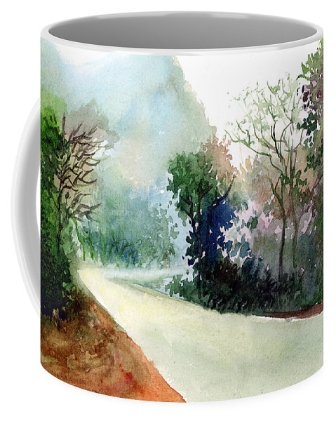 Landscape Water Color Nature Greenery Light Pathway Coffee Mug featuring the painting Turn Right by Anil Nene