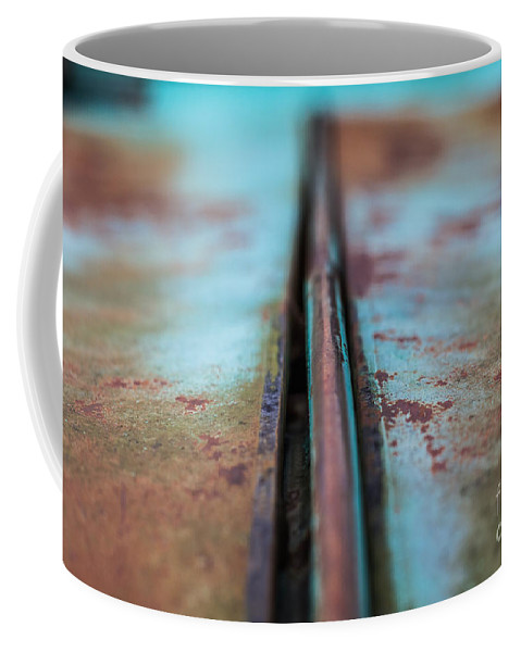 New Mexico Coffee Mug featuring the photograph Turquoise And Rust Abstract by Ashley M Conger