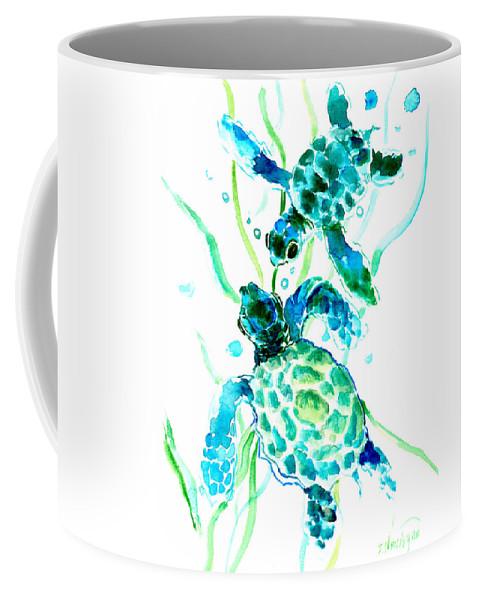 Sea Turtle Coffee Mug featuring the painting Turquoise Indigo Sea Turtles by Suren Nersisyan