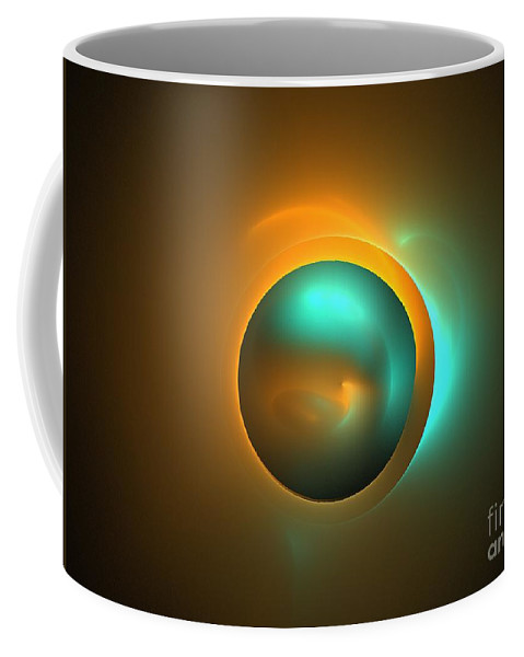 Apophysis Coffee Mug featuring the digital art Turquoise Sun by Kim Sy Ok