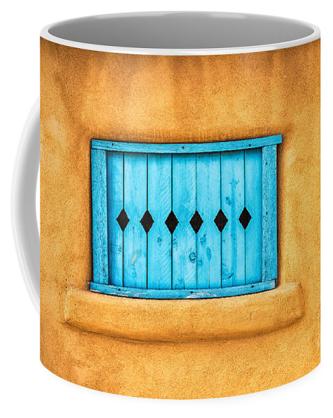 Adobe Coffee Mug featuring the photograph Turquoise Window Shutter by Jerry Fornarotto