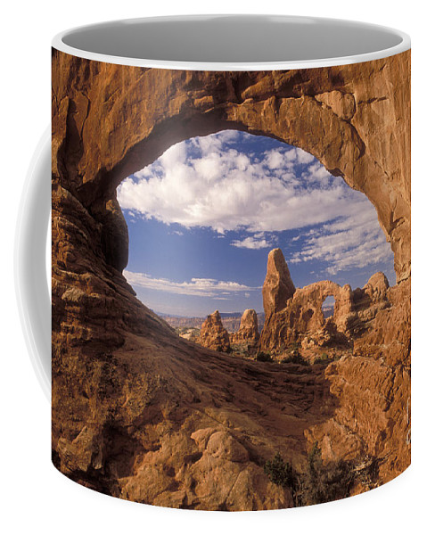 Turret Arch Coffee Mug featuring the photograph Turret Arch And North Window by Sandra Bronstein