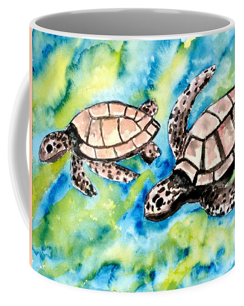 Love Coffee Mug featuring the painting Turtle Love Pair Of Sea Turtles by Derek Mccrea