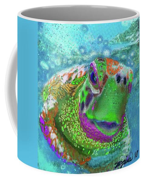 Turtle Coffee Mug featuring the digital art Turtle Love by Suzaine Smith