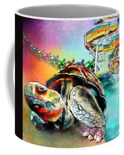 Turtle Coffee Mug featuring the painting Turtle Slide by Miki De Goodaboom