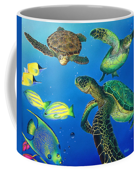 Turtle Coffee Mug featuring the painting Turtle Towne by Angie Hamlin