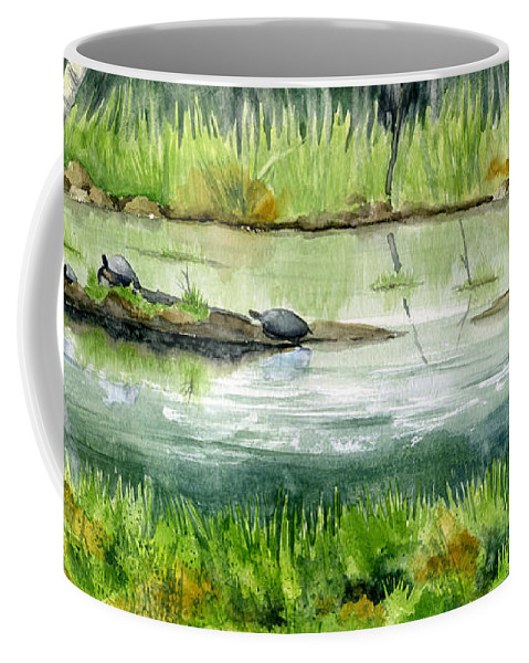 Turtle Coffee Mug featuring the painting Turtles by Mary Tuomi