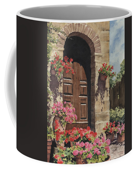 Flowers Coffee Mug featuring the painting Tuscan Door by Sam Sidders