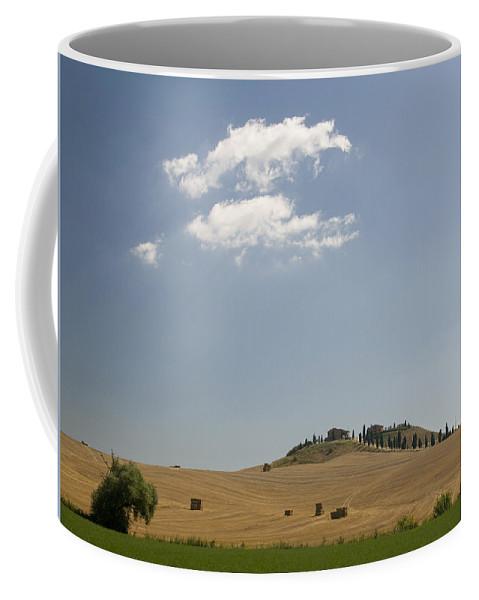 Tuscany Coffee Mug featuring the photograph Tuscan Field And Cloud 4699 by Bob Neiman