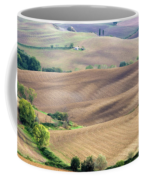 Italy Coffee Mug featuring the photograph Tuscan Landscape With Plowed Fields by Damian Davies