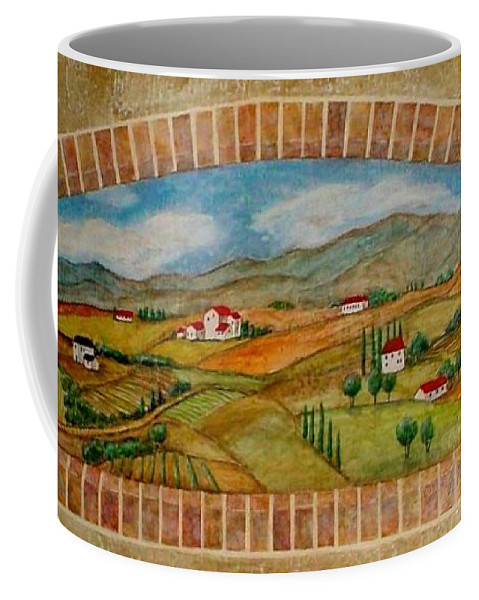 Mural Coffee Mug featuring the painting Tuscan Scene Brick Window by Anita Burgermeister