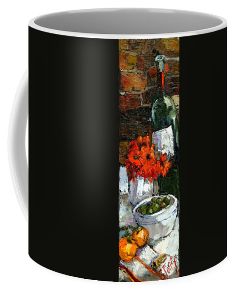 Wine Coffee Mug featuring the painting Tuscan Table by Carole Foret