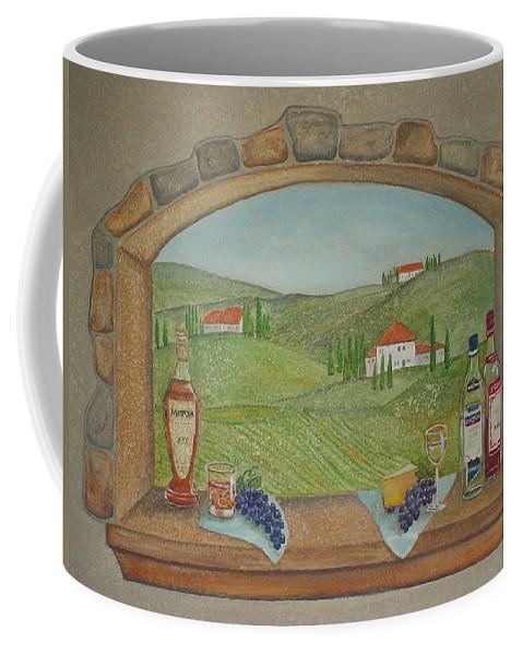 Mural Coffee Mug featuring the painting Tuscan Window View by Anita Burgermeister