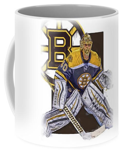 Tuukka Rask Coffee Mug featuring the mixed media Tuukka Rask Boston Bruins  Oil Art 1 by 7bb0fffdfb55