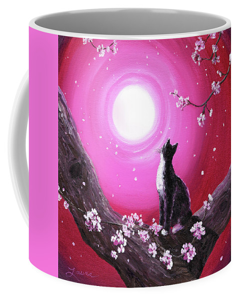 Tuxedo Cat Coffee Mug featuring the painting Tuxedo Cat In Cherry Blossoms by Laura Iverson