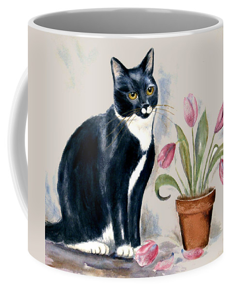 Cat Coffee Mug featuring the painting Tuxedo Cat Sitting By The Pink Tulips by Frances Gillotti