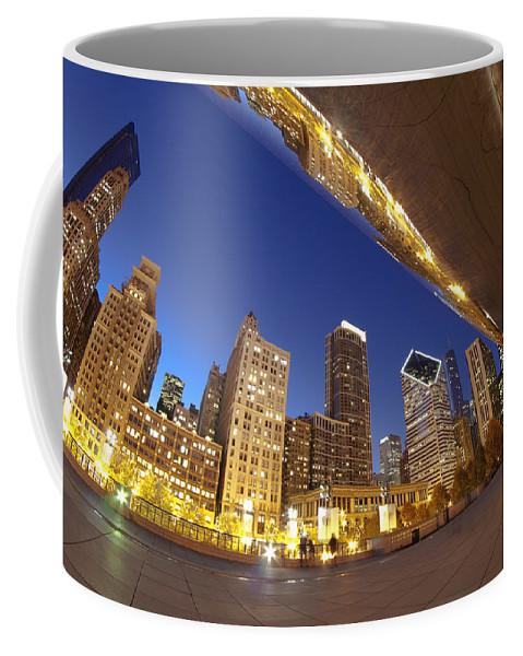Bean Coffee Mug featuring the photograph Twilight Chicago Skyline by Sven Brogren