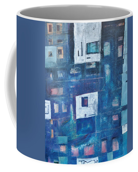 Abstract Coffee Mug featuring the painting Twilight Highrise by Tim Nyberg