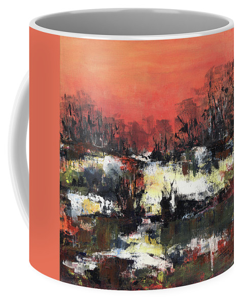 Abstract Coffee Mug featuring the painting Twilight Madness by Aniko Hencz