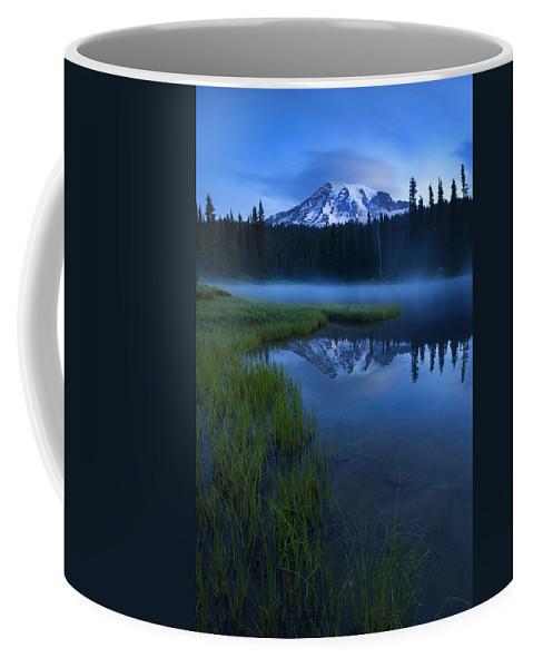 Mt. Rainier Coffee Mug featuring the photograph Twilight Mist Rising by Mike Dawson