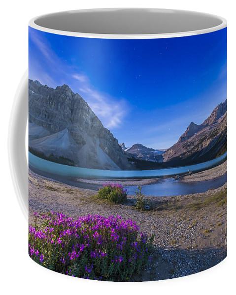 Alberta Coffee Mug featuring the photograph Twilight On Bow Lake, Banff National by Alan Dyer