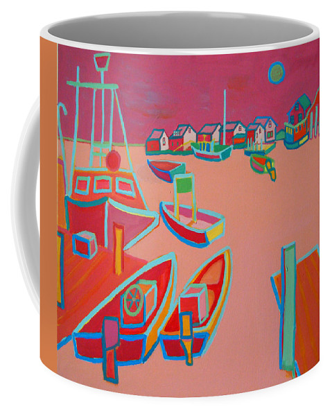 Seascape Coffee Mug featuring the painting Twilight On Menemsha by Debra Bretton Robinson