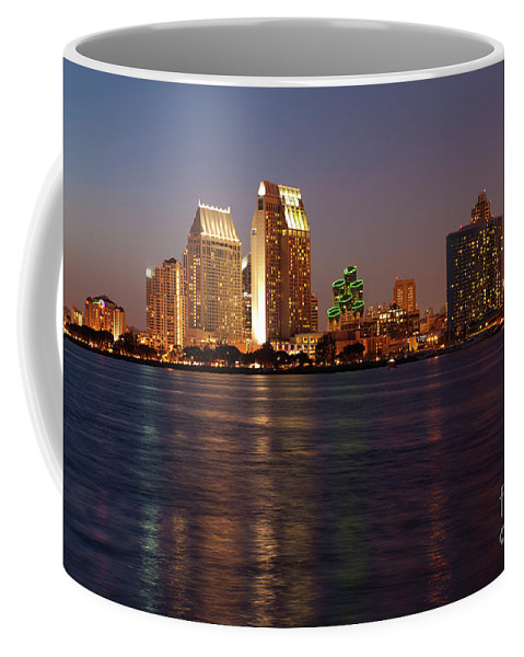 San Diego Skyline Coffee Mug featuring the photograph Twilight On San Diego Harbor by Sandra Bronstein