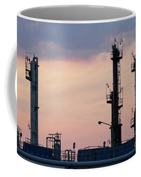 Factory Coffee Mug featuring the photograph Twilight Over Petrochemical Plant by Goce Risteski