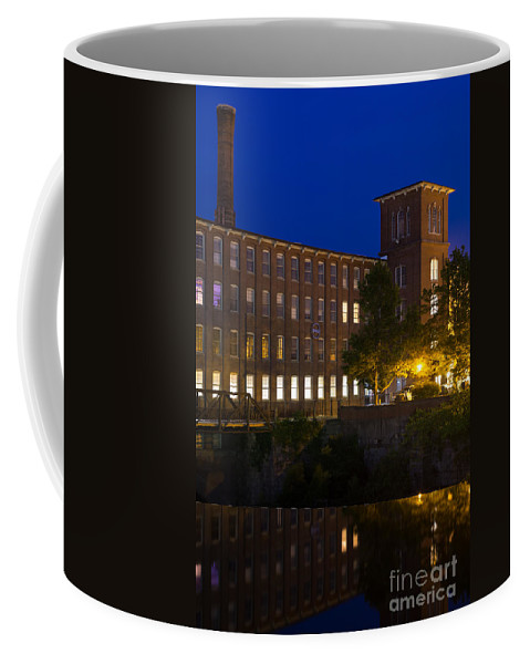 Cocheco Mills At Night Coffee Mug featuring the photograph Twilight Over The Cocheco Mills Dover New Hampshire by Dawna Moore Photography