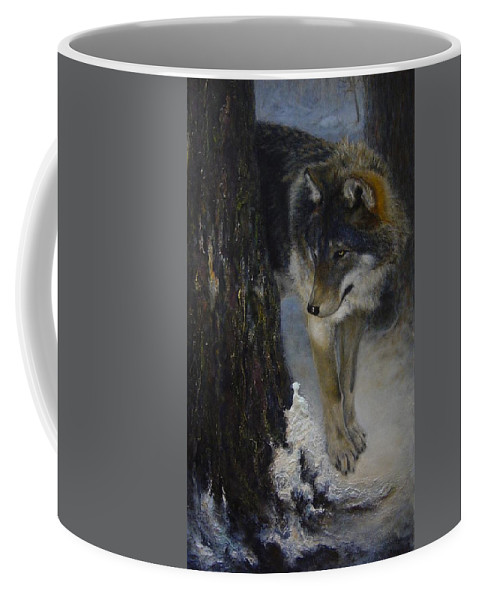 Wolf Coffee Mug featuring the painting Twilight's Preyer by James Berger