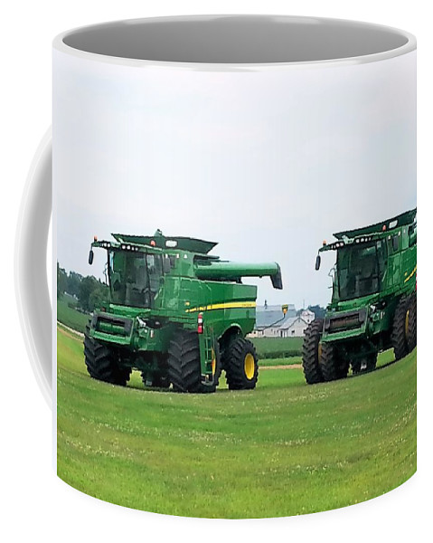 Farm Equipment Coffee Mug featuring the photograph Twin Combines by Shelly Dixon