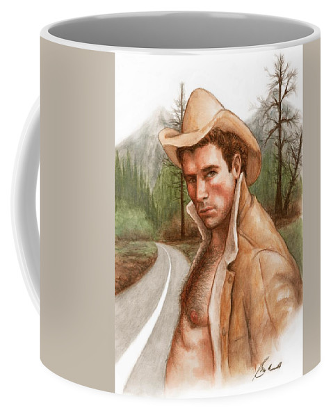 Cowboy Art Bruce Lennon Coffee Mug featuring the painting Twin Peaks Cowboy by Bruce Lennon