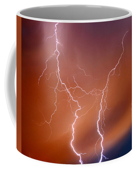 Lightning Coffee Mug featuring the photograph Twin Strike by Anthony Jones