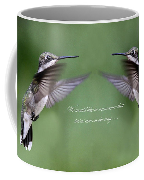 Twins Coffee Mug featuring the photograph Twins Card - Hummingbirds by Travis Truelove
