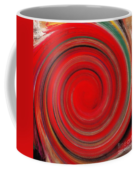 Twirl Coffee Mug featuring the painting Twirl Red-0951 by Gull G
